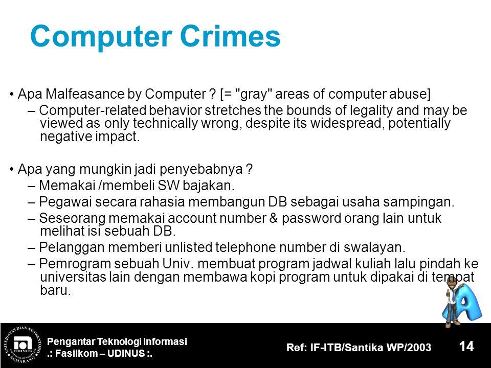 Computer Crimes • Apa Malfeasance by Computer [= gray areas of computer abuse]